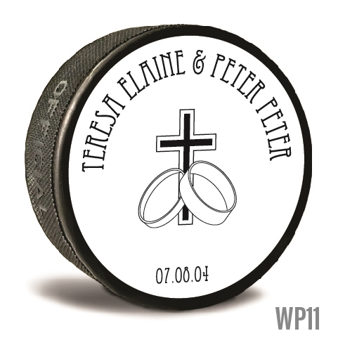 Rings and cross custom printed pucks are customizable hockey pucks and hockey wedding favors