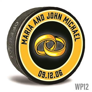 Wedding band design custom printed pucks for hockey wedding favors