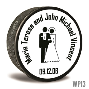 Bride n Groom custom printed pucks are customizable hockey pucks and hockey wedding favors