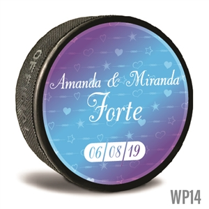 Rings and heart custom printed pucks are customizable hockey pucks and hockey wedding favors