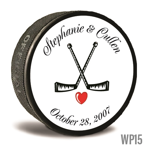 Black sticks custom printed pucks are customizable hockey pucks and hockey wedding favors