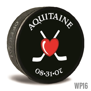 Sticks and heart custom printed pucks are customizable hockey pucks and hockey wedding favors
