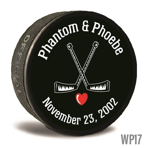 Crossed sticks custom printed pucks are customizable hockey pucks and hockey wedding favors