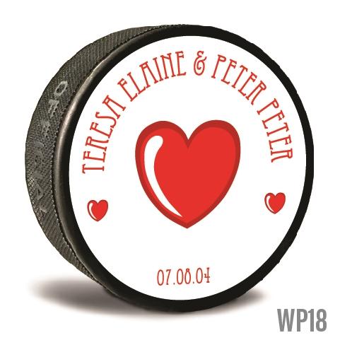 THREE HEARTS hockey puck wedding favor