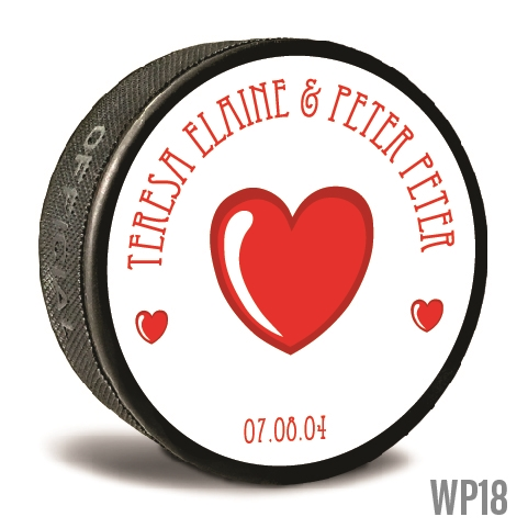 Three hearts custom printed pucks are customizable hockey pucks and hockey wedding favors