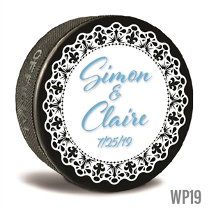 Lace design custom printed pucks are customizable hockey pucks and hockey wedding favors