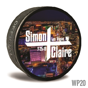 photo background custom printed pucks are customizable hockey pucks and hockey wedding favors