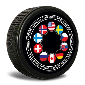 This official logo puck has flags of all the teams that participated in the World Junior event.  Customizable hockey pucks and custom printed pucks