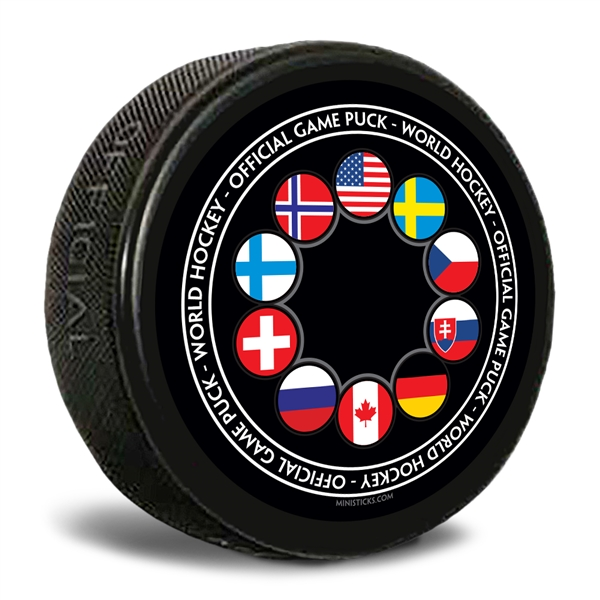 World Junior hockey customizable hockey pucks and custom printed pucks