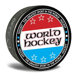 World hockey collector puck. Customizable hockey pucks and custom printed pucks