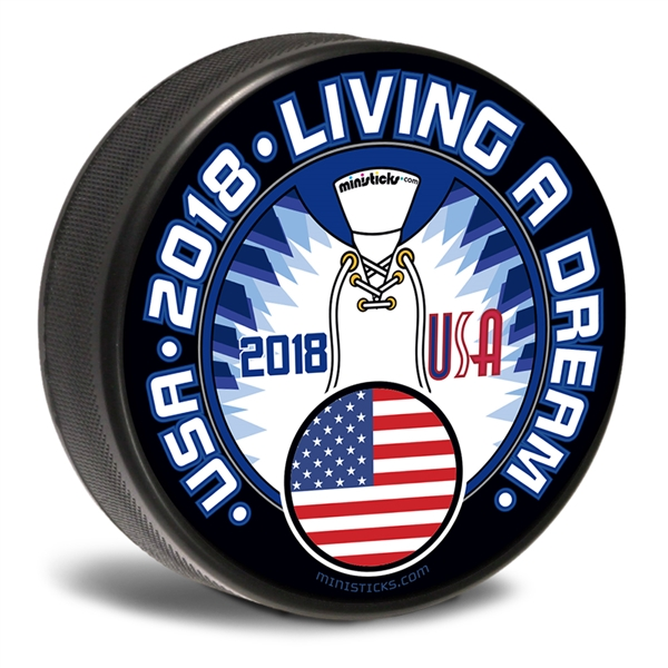 Team USA customizable hockey pucks and custom printed pucks