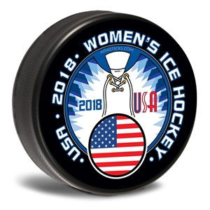 Women's Hockey 2018 Team USA, Team USA hockey puck. Customizable hockey pucks and custom printed pucks