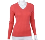 EP Pro Ladies Cable Panel V-Neck Pullover Custom Logo