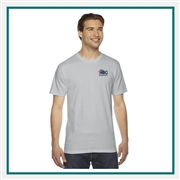 American Apparel Unisex Fine Jersey T-Shirt with Custom Embroidery, Custom Embroidered American Apparel T-Shirts, American Apparel 2001 T-Shirt Best Price