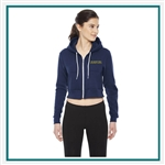 American Apparel Ladies Cropped Flex Fleece Zip Hoodie Custom Embroidered