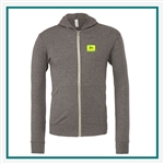 Bella + Canvas Unisex Triblend Full-Zip Lightweight Hoodie with Custom Logo, Custom Logo Bella + Canvas Hoodies, Bella + Canvas Wholesale, Bella + Canvas Distributors
