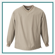 North End Mens V-Neck Unlined Wind Shirt with Custom Embroidery