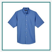 UltraClub Men's Classic Wrinkle-Resistant Short-Sleeve Oxford Custom Embroidery