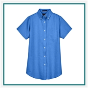 UltraClub Ladies' Classic Wrinkle-Resistant Short-Sleeve Oxford with Custom Embroidery