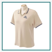 Devon & Jones Ladies Tipped Perfect Pima Interlock Polo with Custom Embroidery, Devon & Jones D140W Custom Embroidered, Devon & Jones Corporate Apparel