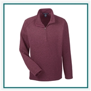 Devon & Jones Men's Adult Bristol Sweater Fleece Quarter-Zip Pullover with Custom Embroidery, Devon & Jones DG792 Custom Embroidered, Devon & Jones Corporate Apparel