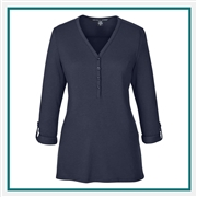Devon & Jones Ladies Perfect Fit Y-Placket Convertible Sleeve Knit Top with Custom Embroidery, Devon & Jones DP186W Custom Embroidered, Devon & Jones Corporate Apparel