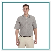 "Harriton Men's 5.6 oz. Tipped Easy Blendâ""¢ Polo with Custom Embroidery, Harriton M270 Prime Custom Embroidered, Harriton Corporate Apparel"