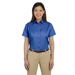Harriton Ladies' Easy Blend SS Twill Shirt with Stain-Release with Custom Embroidery, Harriton Branded Shirts