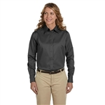 Harriton Ladies' Easy Blend LS Twill Shirt with Stain-Release with Custom Embroidery, Harriton Branded Shirts
