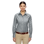 Harriton Ladies' Long-Sleeve Oxford with Stain-Release with Custom Embroidery, Harriton Branded Shirts