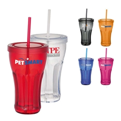 16 Oz. Fountain Soda Tumbler with Straw Plastic Tumblers