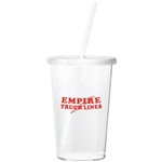 16 Oz. Sizzle Tumbler with Straw, Plastic Tumblers, Cheap Plastic Cups, Cheap Plastic Cups with Lid, Logo Cups, Logo Drinkware