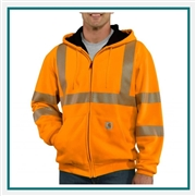 Carhartt Men's High-Visibility Zip-Front Class 3 Thermal-Lined Sweatshirt 100504 Custom Embroidered, Carhartt Custom Thermal Sweatshirts, Carhartt Custom Workwear