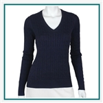 Fairway & Greene Ladies Perry Cable V Neck Sweater Custom Embroidery, Fairway&Greene Corporate Sweaters, Fairway&Greene Branded Sweater