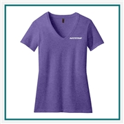 District Made Ladies Perfect Blend V-Neck Tee. DM1190L with Silkscreen Logo, Custom Logo District Made T-Shirts, District Made DM1190L T-Shirt Best Price