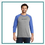 District Made Mens Perfect Tri 3/4-Sleeve Raglan DM136 with Custom Embroidery, Custom Embroidered District Made T-Shirts, District Made 136 T-Shirt Best Price