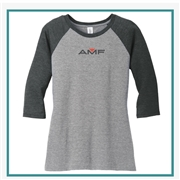 District Made Ladies Perfect Tri 3/4-Sleeve Raglan. DM136L with Silkscreen Logo, Custom Logo District Made T-Shirts, District Made DM136L T-Shirt Best Price