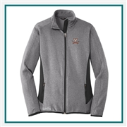 Eddie Bauer Ladies Full-Zip Heather Stretch Fleece Jacket Embroidered Logo