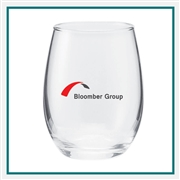 5.5 Oz Perfection Stemless Wine Glass Silkscreened Logo