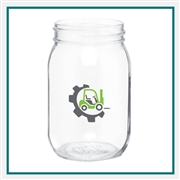16 Oz Mason Jar with Custom Logo, Custom Logo Mason Jar Glasses, ETS Express Item Number 271, Custom Printed Mason Jar Glasses