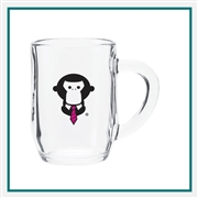 10 Oz. Haworth Glass Mug Custom with Custom Logo Cafe Glass Mug, ETS Express Item Number 301, Custom printed mugs