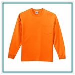 Gildan Cotton Long Sleeve Pocket T-Shirt Custom