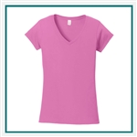 Gildan Ladies Softstyle Junior Fit V-Neck T-Shirt with pocket Silkscreen Logo