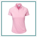 Greg Norman Women's ML75 Microlux Ruched Panel Zip Mock with Custom Embroidery, Greg Norman Custom Polos, Greg Norman Custom Logo Gear