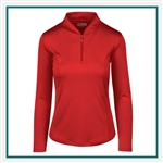 Greg Norman Women's Zip Long Sleeve Tulip Neck with Custom Embroidery, Greg Norman Custom Polos, Greg Norman Custom Logo Gear