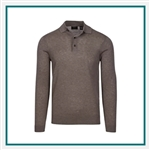 Greg Norman Men's Shadow Long Sleeve Sweater Polo with Custom Embroidery, Greg Norman Custom Sweaters, Greg Norman Custom Logo Gear