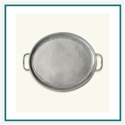 MATCH Pewter Oval Tray with Handles, Medium A448.0, MATCH Pewter Custom Trays, Promo Trays