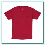 Hanes Tagless Cotton T-Shirt Pocket Embroidered