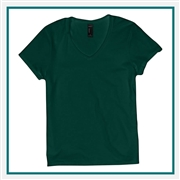 Hanes Ladies Nano-T Cotton V-Neck T-Shirt S04V with Custom Embroidery, Custom Embroidered Hanes T-Shirts, Hanes S04V  T-Shirt Best Price