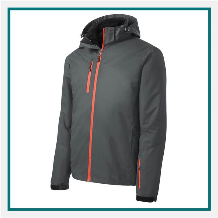 Grey L Port Authority Mens Brushstroke Print Insulated Jacket J320